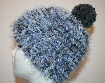 Hairy blue gradient crochet hat and her Pompom