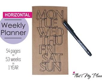 Horizontal Weekly Planner Standard Midori insert - Notebook - Journal Planner