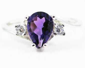Amethyst Pear CZ Accented Ring Sterling Silver