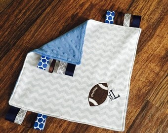 Grey and White Chevron and Blue Minky Dot Tag Lovey with Football Applique and Monogram