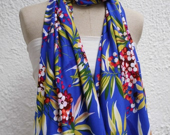 Scarf women Frida from Jersey floral in brilliant blue