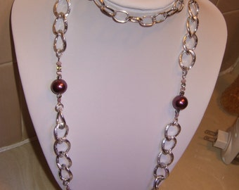 Plum Pearl Glass Bead Chain Necklace