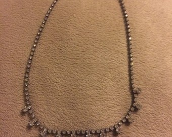 Vintage prong set rhinestone necklace