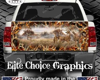 Whitetail Buck Deer Obliteration Buck Blaze Camo Truck Tailgate Wrap Vinyl Graphic Decal Sticker Wrap