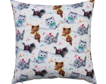 Vintage inspired cat pillow, Kitten cushion cover, Kid pillow, Cat lover gift, Chair accent, Baby shower, Kitchen tea gift, Christening gift