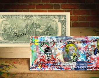 MICHAEL PHELPS Olympic Star by RENCY Art Giclee on Two Dollar Bill Signed by Artist