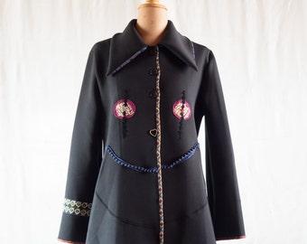 Black neoprene coat