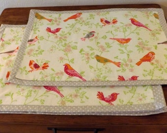 Placemats, Birds placemats, handmade placemats, set of 4 placemats, reversible placemats