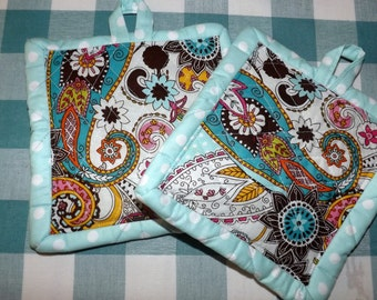 Quilted Potholders - Paisley
