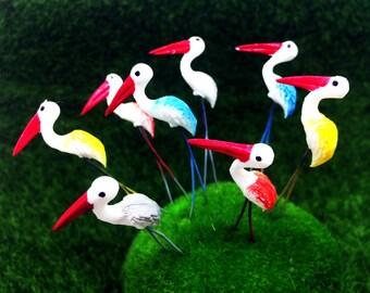 5 Terrarium Mini Mixed Birds Stake Miniature Dollhouse Fairy Garden