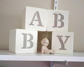 White Nursery Blocks, Baby Blocks, Love Blocks, Nursery Decor, Rustic Nursery Decor, Reversible Blocks, Baby Shower Gift, Baby Gift