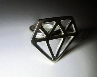 Sterling Silver Tattoo Inspired 'Diamond' Ring