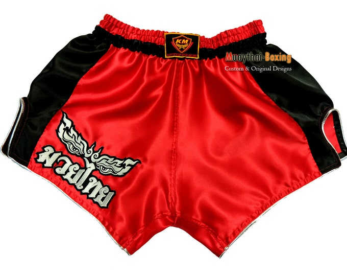 Muay Thailand Boxing Shorts Low-Waist Fit Retro Style - RED