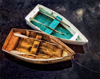 Cape Cod, Wooden Row Boats, New England Coast, Cape Cod Photo, Chatham, Two Boats, Wood And Turquoise Colors, Cape Cod Travel, Wall Decor