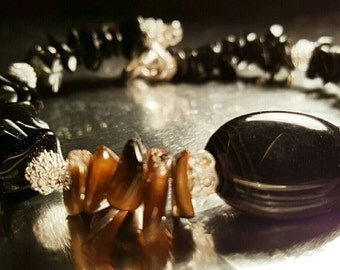 Bracelet onyx and eye of the Tiger