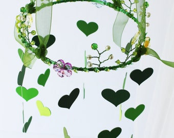 Enchanted forest baby mobile,green,heart mobile,fairy mobile nature mobile,garden mobile