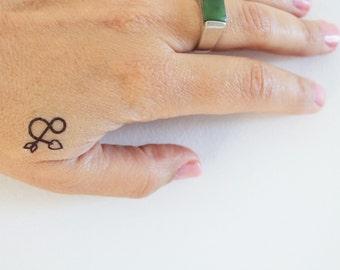 6 ampersand temporary tattoos / sign temporary tattoo / arrow and heart temporary tattoo / lover gift tattoo / wedding tattoo