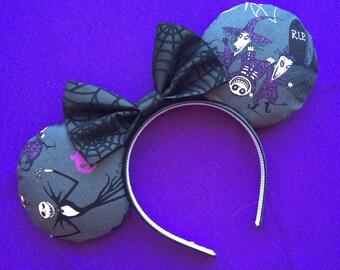 Jack Skellington Nightmare Before Christmas Mickey Minnie Mouse Ears Halloween Lock Shock Barrel Head Band Headband