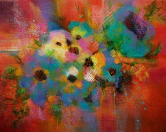 Original Abstract Acrylic Painting/ Flowers/ Colorful/ 11 x 14 inches