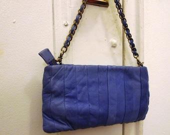 Dreamy purplish blue leather clutch bag