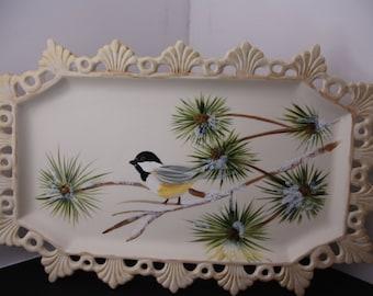 Porcelain Chickadee tray, porcelain tray, hand painted serving tray, chickadee, serving tray,