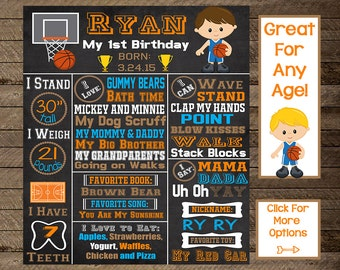 Basketball first birthday chalkboard, basketball theme party, basketball second birthday, basketball chalkboard poster, basketball party, 1
