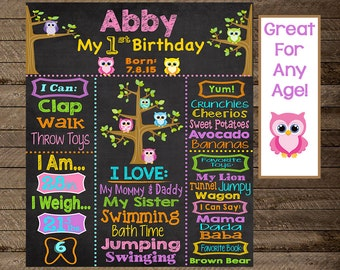 Owl chalkboard poster, girl first birthday chalkboard, girl first birthday owl, owl theme, owl birthday theme, owl 1st birthday, owl party