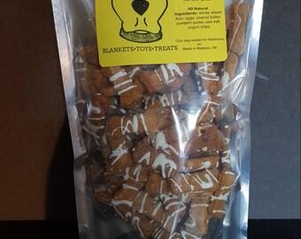 Chucks Specialty Pumpkin Peanut Butter Crisp Dog Treats Drizzled with Yogurt