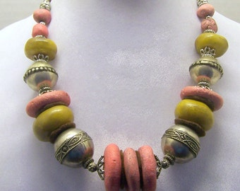 Vintage African Inspired Faux Amber Coral Trade Bead Necklace