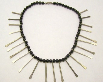 Handcrafted Onyx Silver Tone Beads Necklace