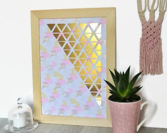 Displays graph-A4-paper cut main-Design-Triangles-Chevrons-Rose-Papier White-Paper cut