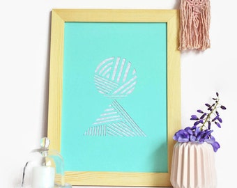 Displays graph-A4-paper cut main-Design-Bleu-Triangles-Rond-Paper cut