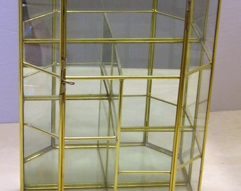 """Glass & Brass Staggered Flat Top Curio Cabinet 12"""" Tall"""