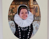 Birthday portrait as a Greeting card - personalised, unusual, fun, unique, 3D, birthday gift. TUDOR style. A6.