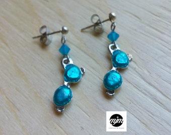 Earrings, hypoallergenic, sunglasses, blue, Swarovski Crystal