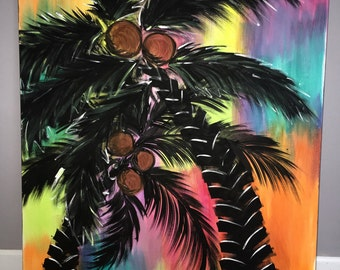Tropical palm tree painting