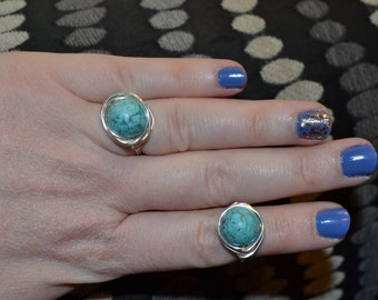 Wrapped Round Turquoise Stone Ring