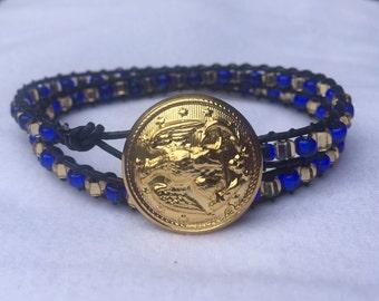 Naval Academy beaded wrap bracelet with academy button