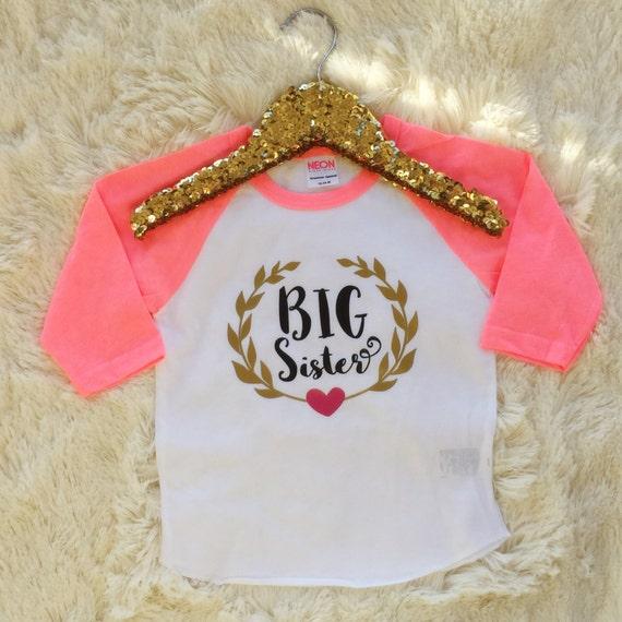 Big sister shirt baby announcement shirt girl sibling for Big sister birth announcement shirts