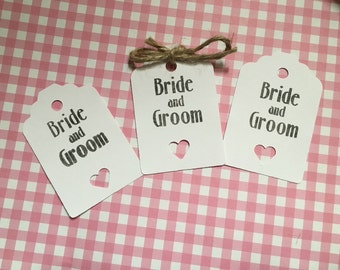 Bride and groom wedding tags