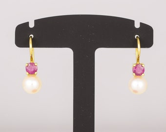 Ear pendants • Akoya cultured pearls Rosé • Ruby • gold