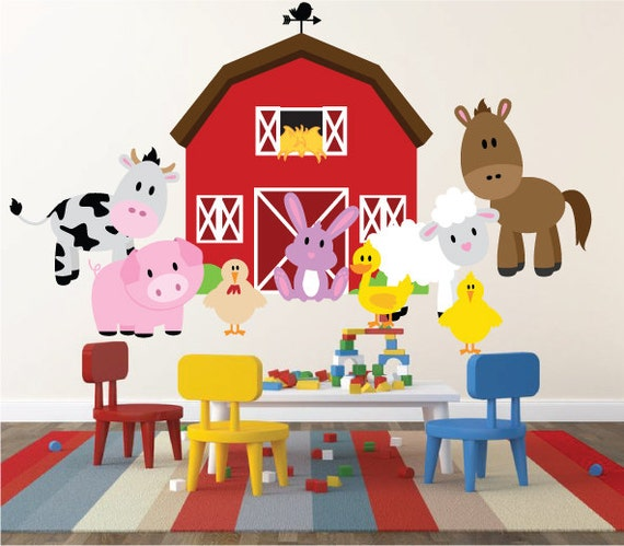 Kids Room Wall Decals Farm Wall Decals Farm Animal Decals: Farm Animals Wall Decal Baby Room Wall Decal Unisex Bedroom