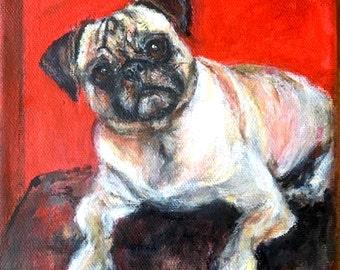 Pug painting, original pug painting, whimsical dog painting, miniature dog painting, original dog painting, cute pug painting