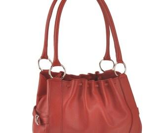 Leather Shoulder Bag - Red - JO2-968