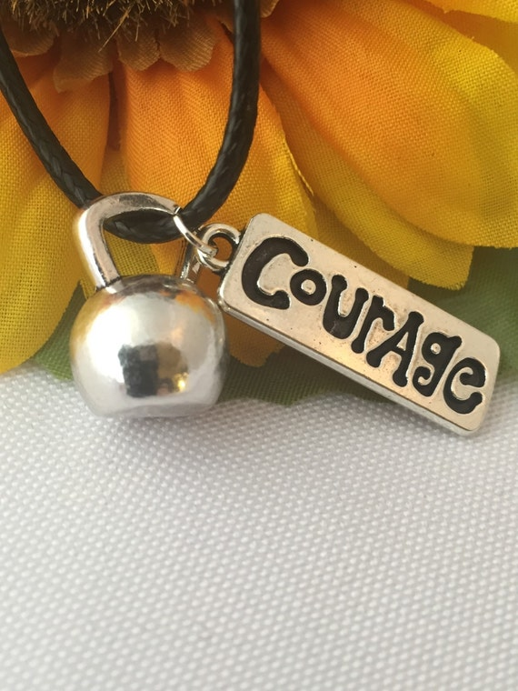 Crossfit Kettlebell Necklace, Courage Charm, Bodybuilding Jewelry, Kettlebell Charm, Motivational Sports Fitness Workout Weight Lifting Gift