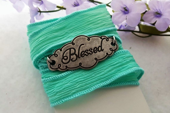 Blessed Charm Bracelet, Christian Jewelry, Hand-Dyed Silk Ribbon Wrist Wrap, Inspirational Sports Jewelry, Faith Strength Charms and Gifts