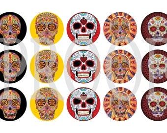 Digital Bottle Cap Image Sheet - Sugar Skull - 1 Inch Digital Collage - Instant Download