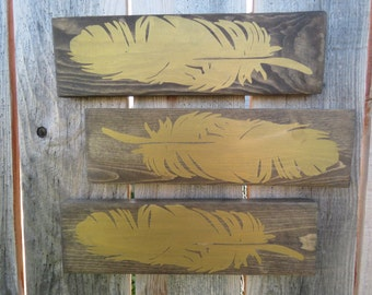 Feather Silhouette - Hand Painted - Custom Wooden Sign - Wall Decor