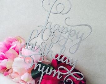 Personalised Happy Birthday Mum Cake Topper Birthday Cake Topper Cake Decoration Cake Decorating Happy Birthday Cursive Topper SMT Sugar Boo