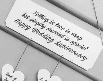Personalised Beautiful Rustic Wedding Anniversary Hanging Wall Perfect For Valentines Day Anniversary Gift Personalised Wall Hanging